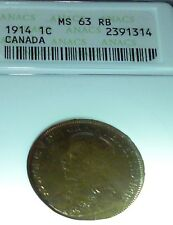 1914 CANADA ONE CENT - UNCIRCULATED - ANACS MS 63 RB