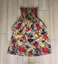 URBAN OUTFITTERS URBAN RENEWAL Strapless Tiered Dress Multi Color Floral S Small