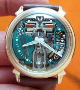 SERVICED 214 ACCUTRON BULOVA SPACEVIEW 10KT GOLD FILLED TUNING FORK MEN WATCH M5