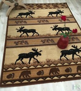 HR-Lodge, Cabin Nature and Animals Area Rug– Stripped Design Cabin Area...