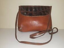 FURLA Vintage Distressed Brown Leather Cross-body Bag w/Crocodile Details
