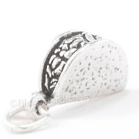 3D TACO Mexican Fast Food Charm Pendant Solid 925 STERLING SILVER Looks Yummy!