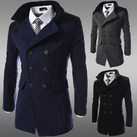 Mens Pea Coat Warm Wool Blend Double Breasted Dress Jacket Peacoat Outwear Tops.