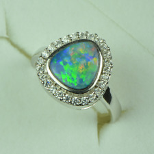 Opal Ring, US 6.5, Natural Opal,Australian Opal,Red Fire,Stunning, Multi-Color