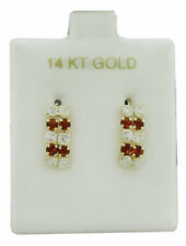 GARNET & WHITE SAPPHIRES DANGLING EARRINGS 14k Yellow Gold ** NEW WITH TAG **