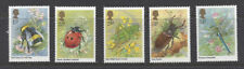 MINT 1985 GB INSECTS BEES,LADYBUGS,DRAGONFLYS,BEETLES, GRASS STAMP SET OF 5 MUH