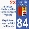 Sticker autocollant plaque d'immatriculation département 84 Vaucluse région Paca