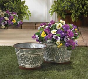 Rustic Country Chic Galvanized Metal Planters w/ Painted Brown Trim Set of 2