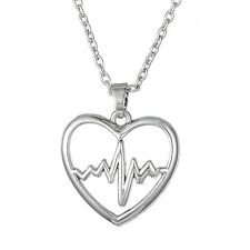 EKG ECG Rhythm Heartbeat Necklace Heart Pendant Nurse Doctor Women Accessories