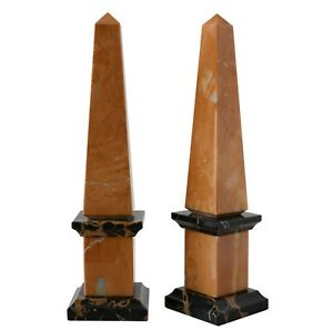 Obelisk Classic Marble Yellow And Black Portoro Italian Home H.25CM