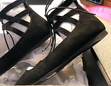 Lane Bryant Black Suede Shoes Flats Gladiator Look Lace Up 7W