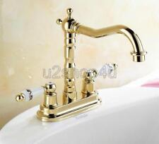 "Gold Color Brass 4"" Centerset Bathroom Vessel Sink Faucet Vanity Lavatory Unf322"