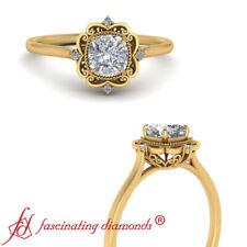 1/2 Carat Cushion Cut Diamond Filigree Halo Engagement Ring In 18K Yellow Gold