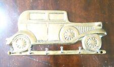 Vintage Solid  Brass Car Shaped Key Holder 6 Hooks Coat Wall Hanger