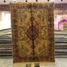 Yilong 2'x3' Small Handmade Oriental Rugs Home Decor Classic Yellow Carpets 030C