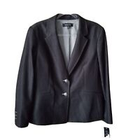 Kasper Classic Blazer Business Sport Coat Jacket Size 18 US Womens Gray Chambray