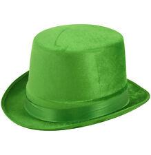 6 x IRISH IRELAND GREEN VELOUR TOP HAT ST PATRICKS DAY LEPRECHAUN FANCY DRESS Q3