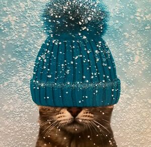 CHARITY CHRISTMAS CARD 'Cat in hat' ~ Snowing ~ Bobble Hat ~ SINGLE CARD