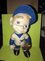 "Vintage ~ 1970's Atlantic Mold ""Smiley"" Boy Blue Baseball Player Ceramic Figure"