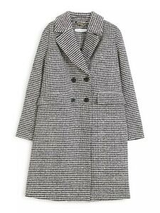 John Lewis Wool Blend Dogtooth Boucle Car Coat, Black UK Size 10 RRP £179