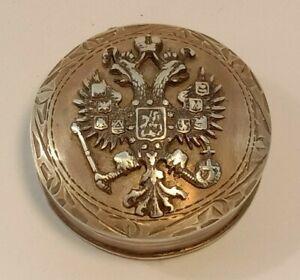 Antique Pill Box Silver 84 Mini Box Imperial Russia Two Headed Eagle