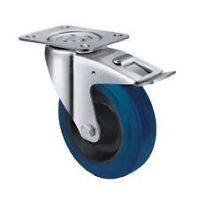 Castor Industrial Blue Rubber - Swivel Plate and Brake Type 160mm