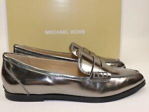 NIB $185 MICHAEL KORS Size 5.5 Women's Gunmetal 100% Leather CONNOR Loafer