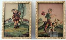 Vintage Set Young Boy Litho Prints Runaway with Dog and Raking Leaves with Cat