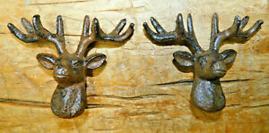 2 Cast Iron Antique Style WHITETAIL DEER Drawer Pull Barn Handle Cabinet Door