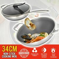idrop 34cm Stainless Steel Non Stick Double Sided Honeycomb Cooking Frying Pan