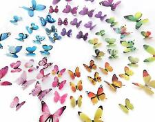 12Pcs 3D Butterfly Wall Stickers Magnetic Decals Home Room Decor US