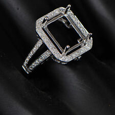 8x10mm Cushion Cut Solid 14kt 585 White Gold Semi Mount Natural Diamond Ring