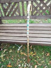 Vintage English Wooden Walking Stick Cane with 7 German Souvenir Badges 97cm