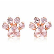 Women's Pink CZ Pet Cat Dog Paw Print Silvery Ear Stud Pierced Earrings Shiny