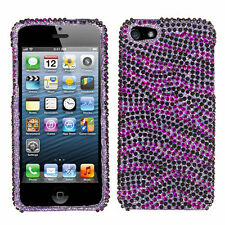 For iPhone 5 5S SE Crystal Diamond BLING Hard Case Snap Phone Cover Purple Zebra
