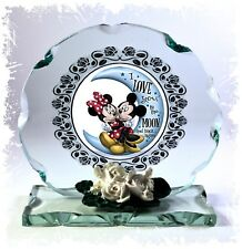 Love You To The Moon & Back, Mickey Mouse, Cut Glass Round Plaque Ltd Edition #4
