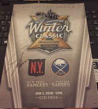 2018 Adam Graves Signed Winter Classic Program NY Rangers + Ticket Stub