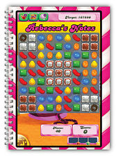 A5 NOTEBOOKS PERSONALISED/50 LINED PAGES/GIFT FOR CANDY CRUSH FANS/ NOTE BOOK 1