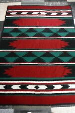 Vintage Reversible Acrylic Camp Blanket Throw Aztec Southwest 72 x 54 Red Green