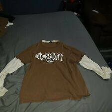 Vintage Quiksilver Brown Long Sleeved Shirt Size M White Sleeves