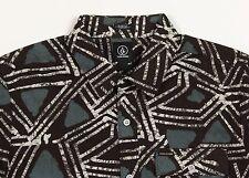Men's VOLCOM Brown Olive  Short Sleeve S/S Tribal Art Shirt Large L NWT NEW