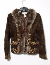 Mur Mur Vegan Fur Coat Anthropolgie Shabby Chic Vintage style Corduroy Jacket