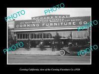 OLD LARGE HISTORIC PHOTO OF CORNING CALIFORNIA, THE CORNING FURNITURE Co c1920