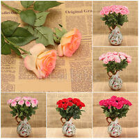 Real Touch Latex Rose Flowers For wedding Bouquet New 10-40 Head DIY Home Decor