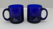 Cobalt Blue Glass Coffee Cups / Mugs Silver Floral Geometric Trim Made in USA  2