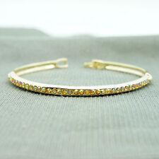 14k Gold Plated Swarovski Elements Brilliant Crystals Bangle Bracelet