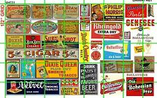 NH031 DAVE'S DECALS 1/2 Set N SCALE VINTAGE TOBACCO 5 CENT CIGARS BEER MIXED SET