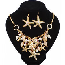 Sea Shell Starfish Faux Pearl Collar Bib Statement Necklace+Earrings Jewelry Set