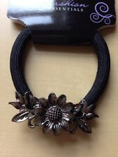 A Metal Gunmetal Flower Hair Band/Bobble