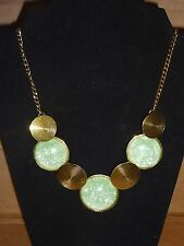 NEW Golden Bronze Bubble Circles Green Necklace Big Vintage Costune Jewelry